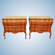Pair 2 Louis XV French Provincial Nightstands Bed Side Chests Cabinet End Tables