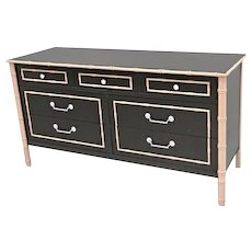 THOMASVILLE Faux Bamboo Lacquer Mid Century Dresser Chest Cabinet Buffet Bedroom