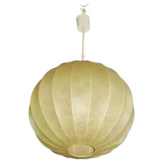 Rare Italian Modern Parchment Bubble Hanging Light Fixture Lamp Shade Chandelier