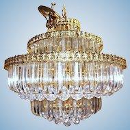 6-Tier Brass Lucite Chandelier Hanging Ceiling Light Fixture Lamp Shade Modern