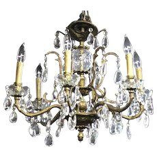 Baroque Rococo Bronze Crystal Chandelier Hanging Fixture Pendant Light Antique