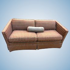 Houndstooth Red Brown Wool Modern Track Arm Sofa Couch Settee Chaise Loveseat