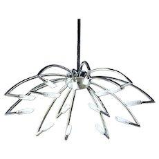 "44""H 15-arm Mid Century Modern Chrome Chandelier Ceiling Light Fixture Pendant"