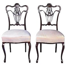 Pair 2 French Style Carved Side Accent Chairs Arm Sofa Dining  Vintage