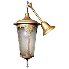 Antique Art Nouveau Lantern Hall Light Chandelier Ceiling Fixture Pendant Vintage