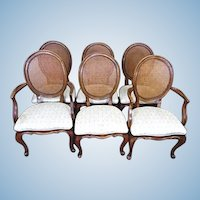 Set 6 Six French Provincial Country Louis XV Style Dining Chairs Side Armchairs