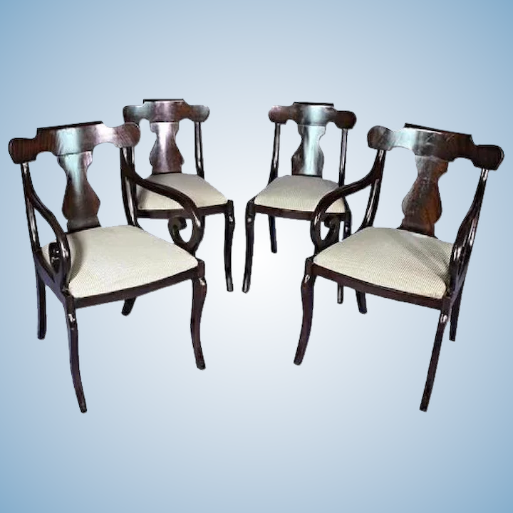 Excellent Fine Set Four 4 Regency Style Mahogany Dining Chairs Side Accent Vintage Antique Caraccident5 Cool Chair Designs And Ideas Caraccident5Info