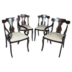 Fine Set Four 4 Regency Style Mahogany Dining Chairs Side Accent Vintage Antique