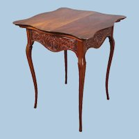 Antique French Provincial Carved Lamp End Side Table Coffee Nightstand Stand