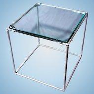"""3/4"""" Glass Top Mid Century Modern Chrome End Side Table Lamp Sofa Coffee Stand"""