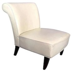 Genuine Leather Slipper Lounge Chair Side Mid Century Modern Settee Chaise
