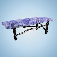 Mid Century Modern Tree Glass Top Cocktail Table Coffee Dining Side Vintage
