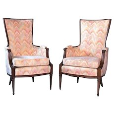 Pair 2 Decorator Flame Stitch Lounge Chairs Armchair Chaise Settee Loveseat Sofa