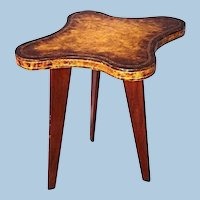Mid Century Modern Leather Top Side End Table Coffee Center Server Desk Stand