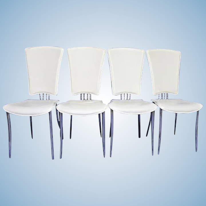 Excellent Set 4 Four White Leather Dining Side Chairs Armchair Office Mid Century Modern Unemploymentrelief Wooden Chair Designs For Living Room Unemploymentrelieforg