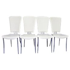 Set 4 Four White Leather Dining Side Chairs Armchair Office Mid Century Modern