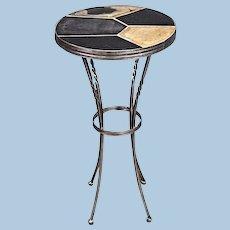 Elegant Slate Top Metal Base Side End Table Coffee Vintage Mid Century Modern