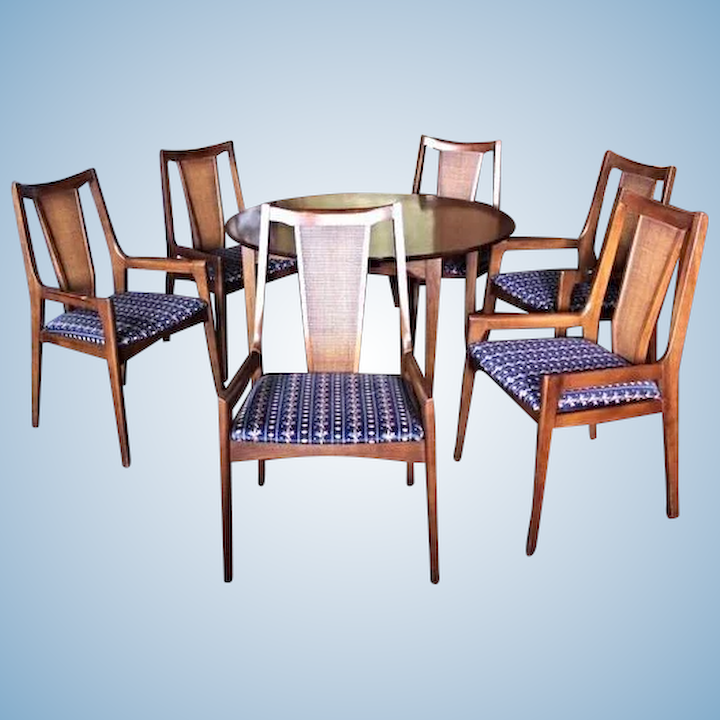 Walnut Dining Suite Set Table Chairs Breakfront Cabinet Server Armchair  Modern