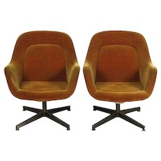 Pair Vintage KNOLL INTERNATIONAL Mid Century Modern Lounge Club Chairs Armchairs