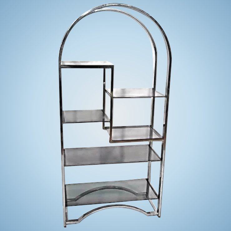 MILO BAUGHMAN Chrome Arched Top Etagere Smoked Glass Shelves Mid ...