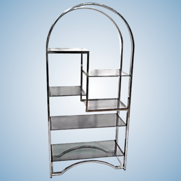 Incredible Milo Baughman Chrome Arched Top Etagere Smoked Glass Shelves Mid Century Modern Home Remodeling Inspirations Basidirectenergyitoicom