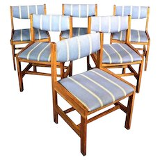 Set 6 Six Solid Oak Dining Side Office Chairs Armchair Table Mid Century Modern