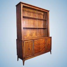 American Mid Century Modern Walnut China Cabinet Breakfront Bookcase Cupboard
