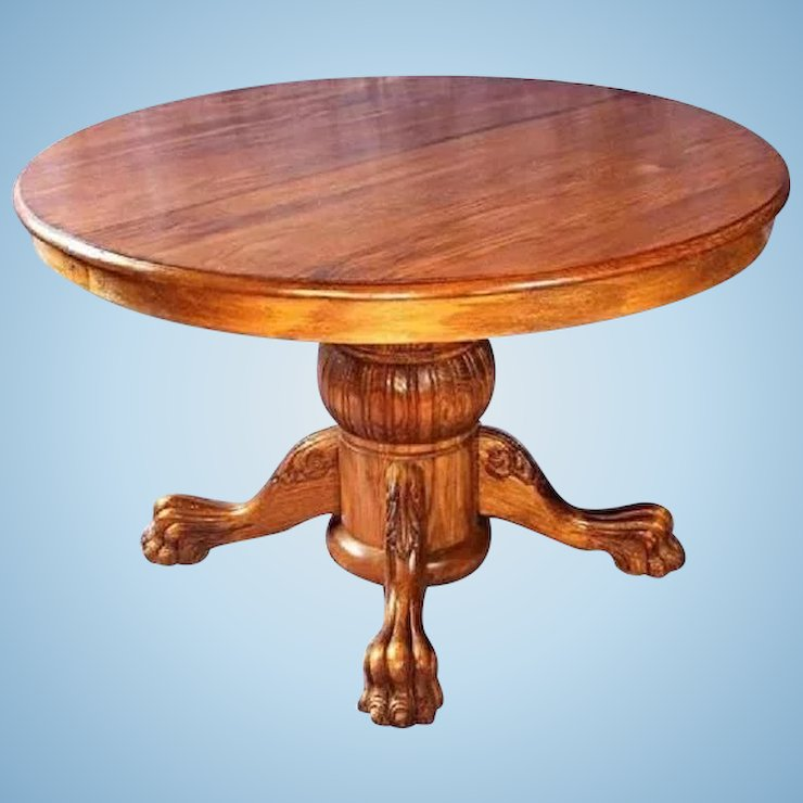 Victorian Oak Pedestal Extension Table Claw Foot
