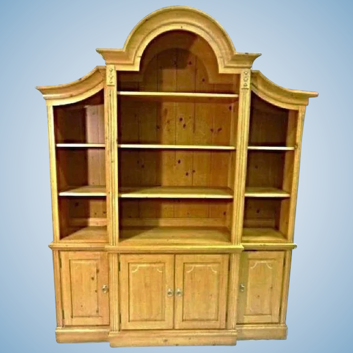 Ethan Allen French Country Pine Hutch China Cabinet Breakfront Treasure Island Interiors Llc Ruby Lane
