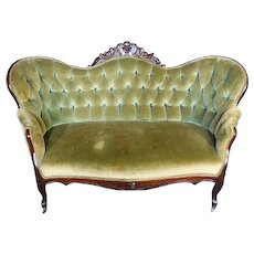 Antique Victorian 19th C Loveseat Settee Tufted Carved Sofa Chaise Couch Vintage