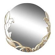 """Large 45""""D Round Modern Parrot Silver Gilt Wood Wall Mirror Mid Century Vintage"""