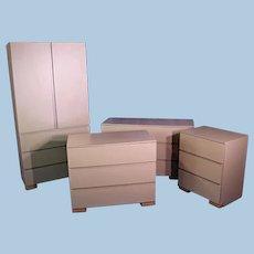 Modern 4-piece Bedroom Set Dresser Chest Nightstand Mid Century Danish Wardrobe