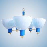 5-arm Modern Blue Art Glass Brass Hanging Ceiling Light Chandelier Fixture Lamp