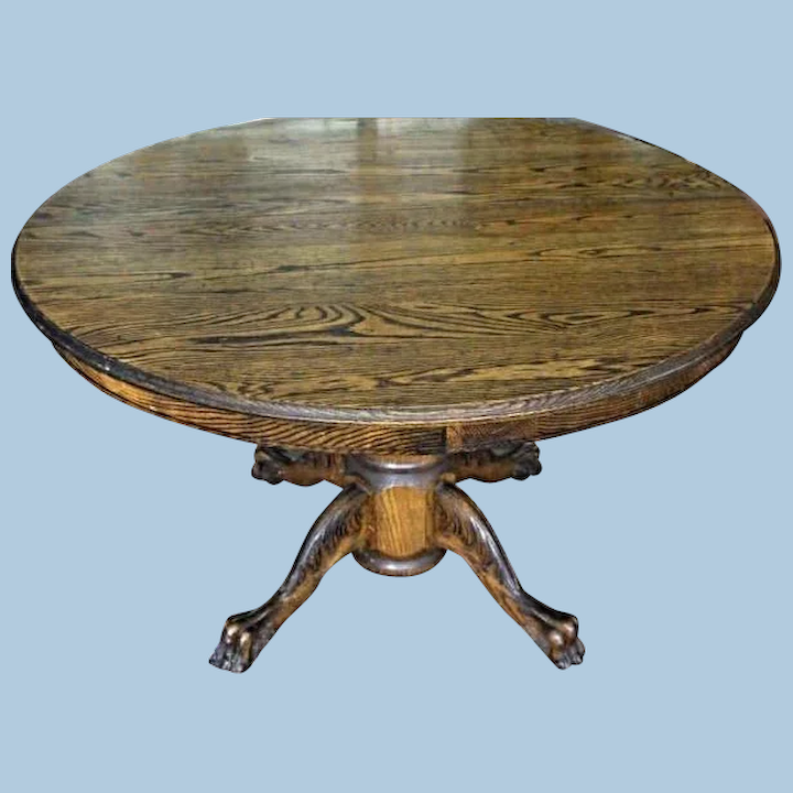 Rare Early American Oak Claw Foot Round Dining Table Antique Vintage Treasure Island Interiors Llc Ruby Lane