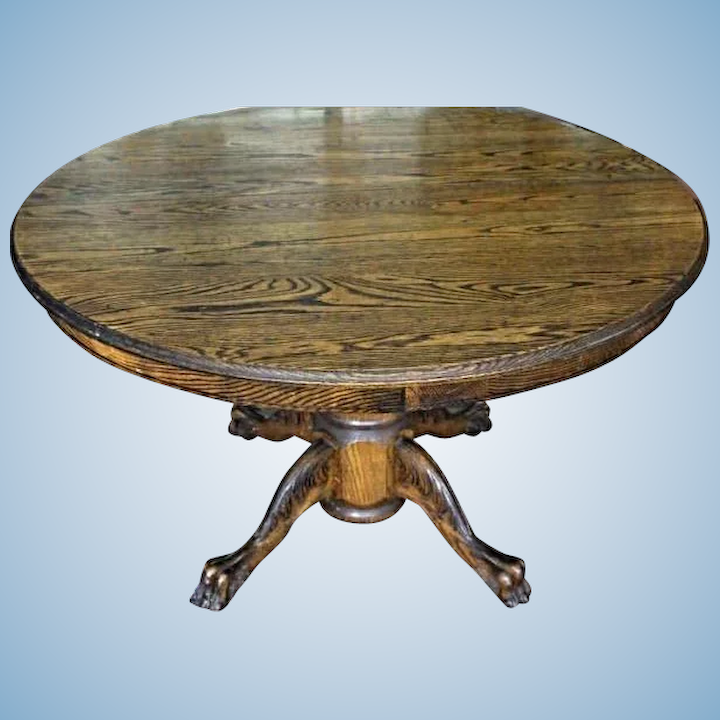 Rare Early American Oak Claw Foot Round Dining Table Antique Vintage Side Center