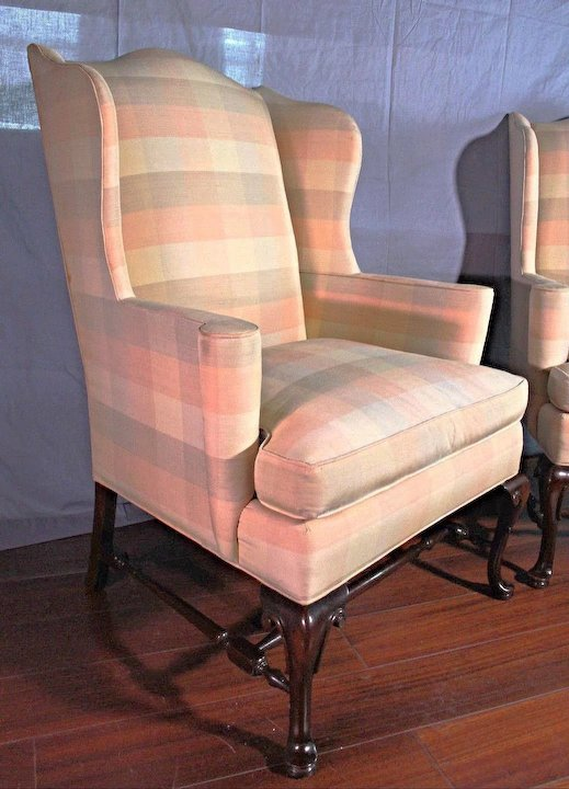 Pair 2 Hickory Chair Nc Queen Anne Wing Back Armchair Settee