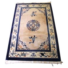 4x6 HANDMADE CHINESE Style ORIENTAL Blue Area Rug Carpet Vintage Antique Decor