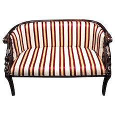 French Empire Style Mahogany Settee Loveseat Silk Upholstery Sofa Chaise Couch