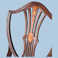 19th Century Antique Inlaid Hepplewhite Shield Back Chair Armchair Dining Side