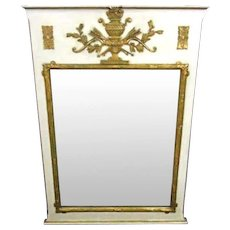 Antique French Neoclassical White Carved Gilt Wood Wall Mirror Frame Bed Vintage