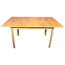 Elegant Dining Kitchen Center Wood Table 1 Extension Leaf Mid Century Modern