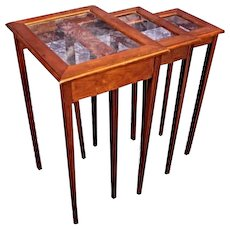 Mid Century Modern Glass Top Nesting Tables Side End Coffee Table Stand Pedestal
