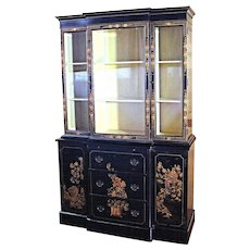 Chippendale Chinoiserie Breakfront China Cabinet - Bookcase Secretary Curio Desk