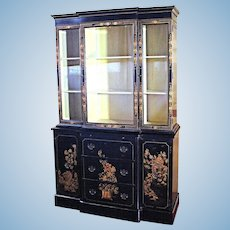 Chippendale Chinoiserie Breakfront China Cabinet - Bookcase Secretary Curio Desk