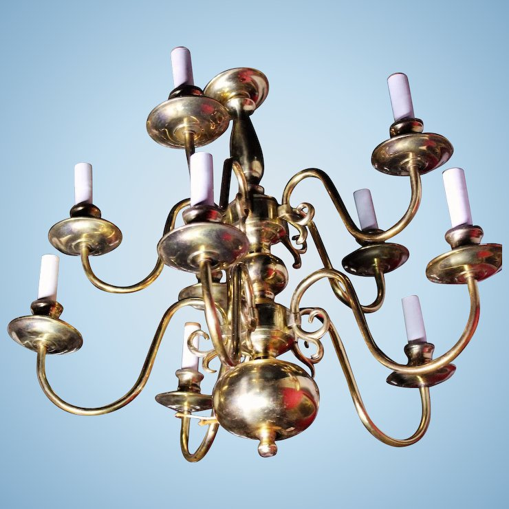 10 arm colonial williamsburg early american brass chandelier fixture 10 arm colonial williamsburg early american brass chandelier fixture lamp light aloadofball Image collections