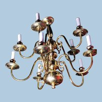 10-Arm Colonial Williamsburg Early American Brass Chandelier Fixture Lamp Light