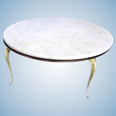 Signed Van Sciver Queen Anne Antique Marble Top Coffee Table Low Side Center