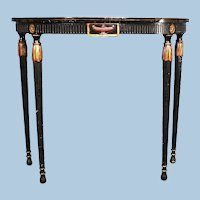 Antique Regency Style Gilt Black Demilune Console End Side Table Coffee Buffet