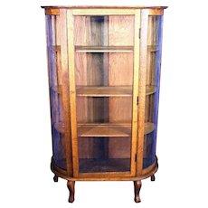Antique Oak Vitrine Display Curio China Cabinet Breakfront Bookcase Victorian