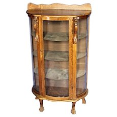 1900s Antique Oak Curved Curio Display China Cabinet Vitrine Breakfront Cupboard